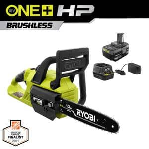 ONE+ HP 18V Brushless 10 in. Cordless Battery Chainsaw with 4.0 Ah Battery and Charger