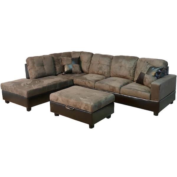 Star Home Living Walnut Microfiber 3, Microfiber Sofa Sectionals