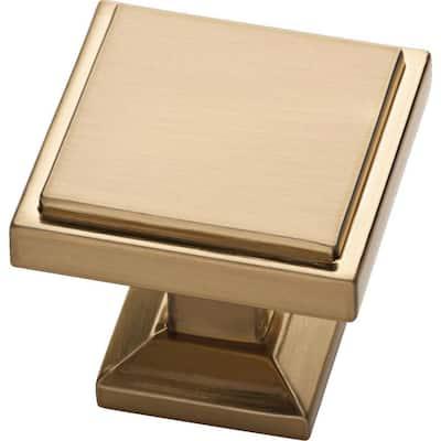 Classic Square 1-1/9 in. (28 mm) Champagne Bronze Cabinet Knob (25-Pack)