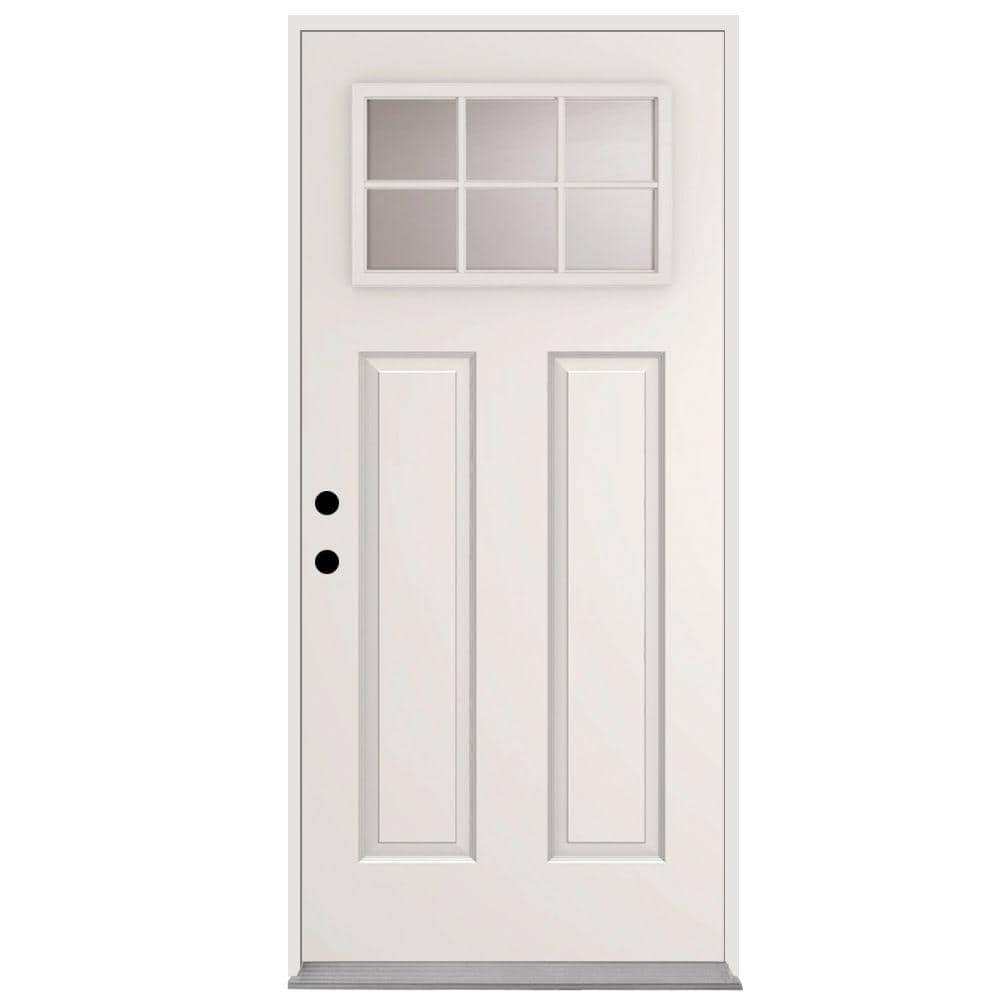Steves Sons 36 In X 80 In 6 Lite Right Hand Inswing Primed White Steel Prehung Front Door With 4 In Wall St30 6l 30 4irh The Home Depot