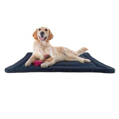Large Navy Waterproof Pet Bed Washable Dog Kennel Pad with Raised Edge