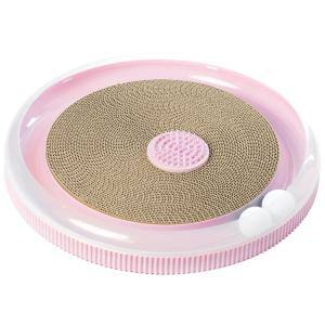 Pink Round Interactive 4-in-1 Cat Scratcher, Lounge, Toy and Brush