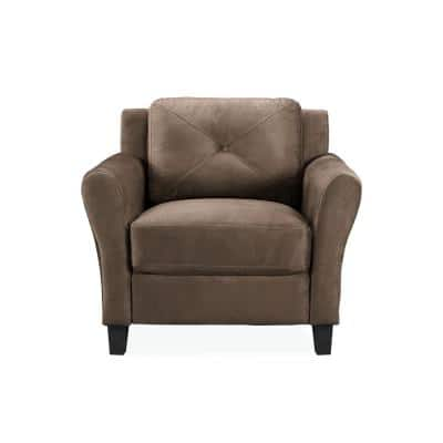 Harvard Microfiber Chair with Rolled Arm in Brown