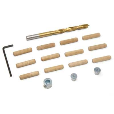 1/4 in. Wooden Doweling Kit with Drill Bit, Stop Collar and Fluted Birch Wood Dowels