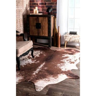 Halina Faux Cowhide Brown 6 ft. x 8 ft. Shaped Rug