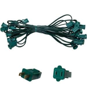 25 ft. C7/E12 Green Wire Socket Stringer with 12 in. Spacing