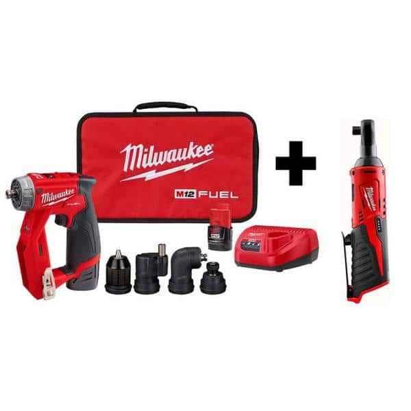 Milwaukee M12 FUEL 12-Volt Lithium-Ion Brushless Cordless 4-in-1 Installation 3/8 in. Drill Driver Kit W/ M12 3/8 in. Ratchet   The Home Depot