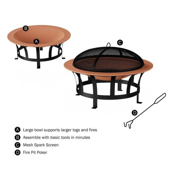 Pure Garden 30 In W X 20 In H Round Steel Wood Burning Outdoor Deep Fire Pit In Copper Black With Grilling Grate Hw1500260 The Home Depot