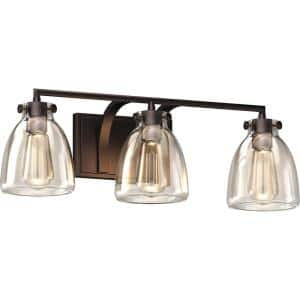 3-Light Indoor Antique Bronze Bath or Vanity Light Bar, Wall Mount, or Wall Sconce w/ Clear Glass Jar Bell Shades