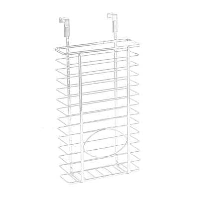 Over Cabinet Metal Plastic Bag and Grocery Bag Storage Holder, Chrome