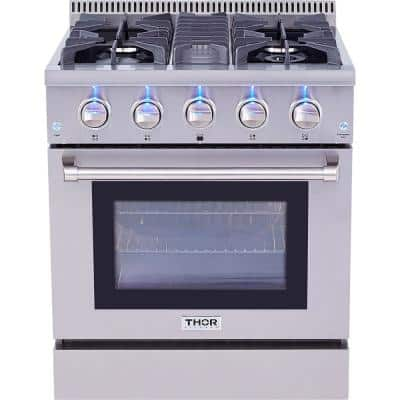 Pre-Converted Propane 30 in. 4.2 cu. ft. Gas Range in Stainless Steel Single Oven