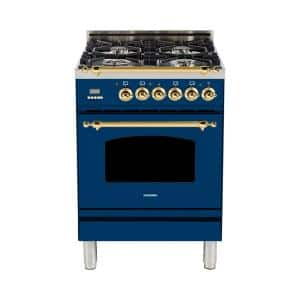 24 in. 2.4 cu. ft. Single Oven Dual Fuel Italian Range with True Convection, 4 Burners, Brass Trim in Blue
