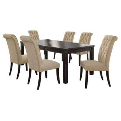 Sania III 7-Piece Antique Black/Beige Table Set