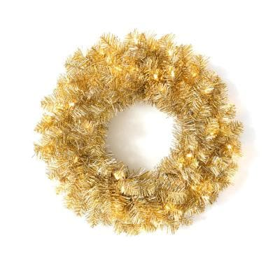 24 in. Artificial Champagne and Lights Wreath