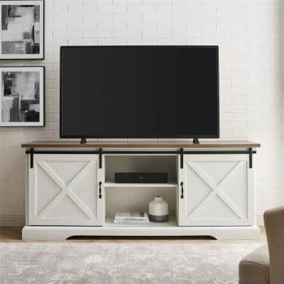 70 in. Reclaimed Barnwood and Brushed White Wood and Metal TV Stand Fits TVs up to 80 in. with Sliding X Barn Doors