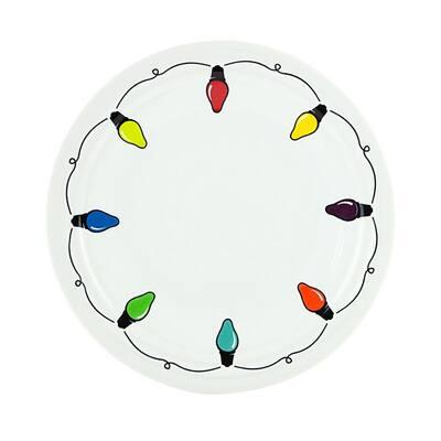 "9"" White Ceramic Lights Luncheon Plate"
