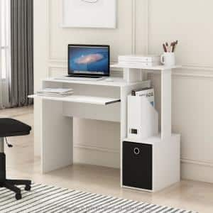 40 in. Rectangular White/Black 1 Drawer Computer Desk with Keyboard Tray