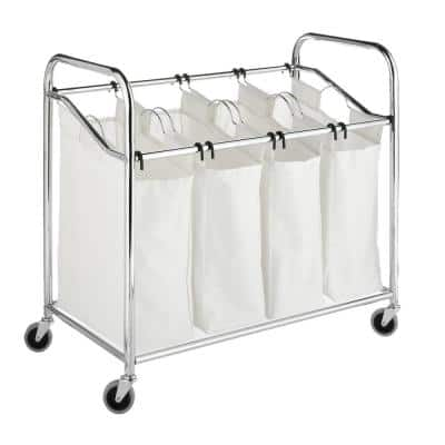 Chrome Laundry Collection 36 in. x 33 in. Chrome and Canvas 4-Section Laundry Sorter