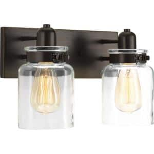 Calhoun Collection 2-Light Antique Bronze Clear Glass Farmhouse Bath Vanity Light