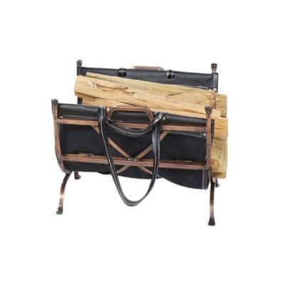 Antique Copper Finish Firewood Rack with Handcrafted Black Leather Carrier