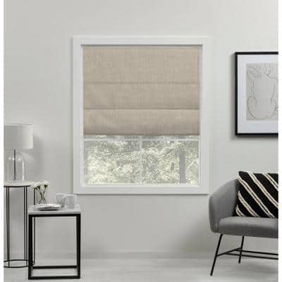 Acadia Natural Cordless Total Blackout Roman Shade 34 in. W x 64 in. L