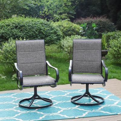 Black Swivel Padded Textilene Metal Outdoor Dining Chair with Curve Arms (2-Pack)