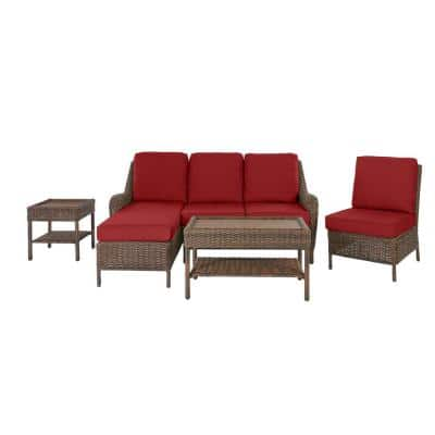 Cambridge 5-Piece Brown Wicker Outdoor Patio Sectional Sofa Seating Set with CushionGuard Chili Red Cushions