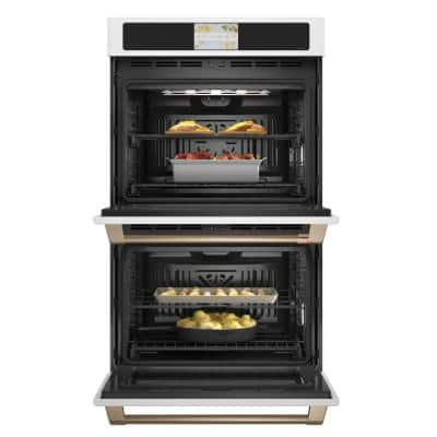30 in. Double Electric Smart Wall Oven with Convection Self-Cleaning in Matte White