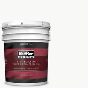 Behr Ultra 5 Gal Ultra Pure White Flat Exterior Paint And Primer In One 485005 The Home Depot