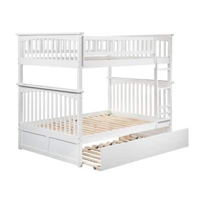 Columbia Bunk Bed Full over Full with Full Size Urban Trundle Bed in White