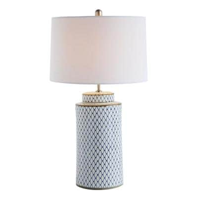 28 in. Indigo Table Lamp with Linen Shade