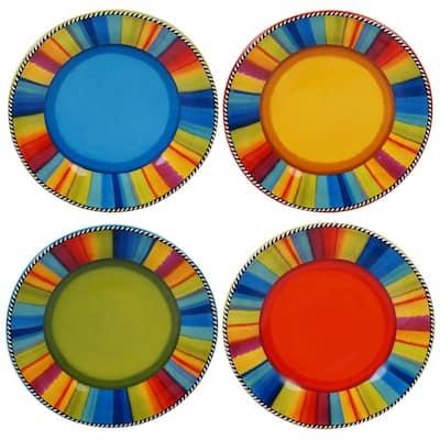 Sierra 4-Piece Seasonal Multicolored Earthenware 8.75 in. Salad Plate Set (Service for 4)
