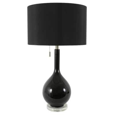 Reagan 29.5 in. Black Glass and Crystal Table Lamp with Shade