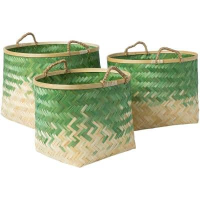 Adely Grass Green Bamboo 15 in. x 11 in., 16.9 in. x 12.6 in., 18.9 in. x 14.2 in. 3-Piece Basket Set