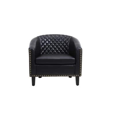 Black Modern PU Leather Upholstered Accent Barrel Chair with Nailheads and Solid Wood Legs