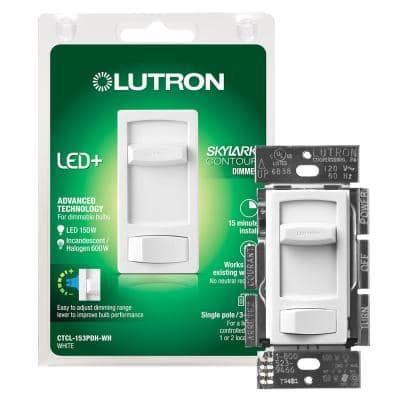 Skylark Contour LED+ Dimmer Switch for Dimmable LED, Halogen and Incandescent Bulbs, Single-Pole or 3-Way, White