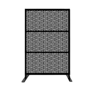 New Style MetalArt Laser Cut Metal Privacy Fence Screen, RoyalNet, Black, 24 in. x 48 in. /-Piece (3-Piece Combo)