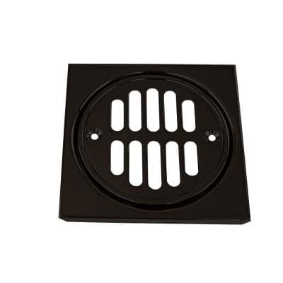 4-1/4 in. x 4-1/4 in. Shower Strainer Set with Grill in Screws in Crown and Tile Square in Oil Rubbed Bronze
