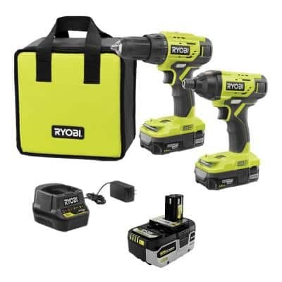 ONE+ 18V Cordless 2-Tool Combo Kit with (2) Batteries, Charger, Bag and HIGH PERFORMANCE Lithium-Ion 4.0 Ah Battery