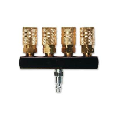 4-Way Bar Air Manifold with 1/4 in. 6-Ball Brass Couplers