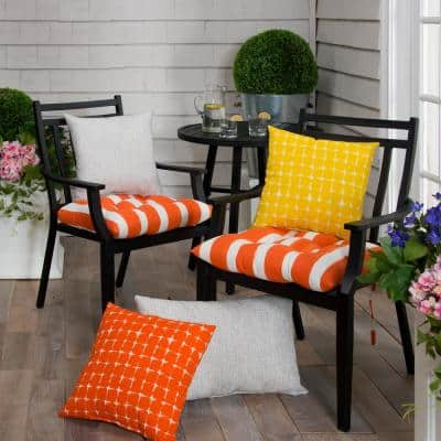 Lateral Marmalade Orange Rectangle Outdoor Tufted Seat Cushion (2-Pack)