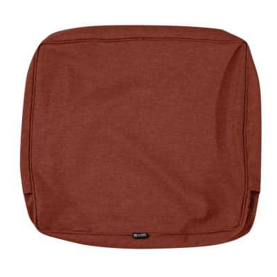 Montlake FadeSafe 25 in. W x 22 in. H x 4 in. D Patio Lounge Back Cushion Slip Cover in Heather Henna Red