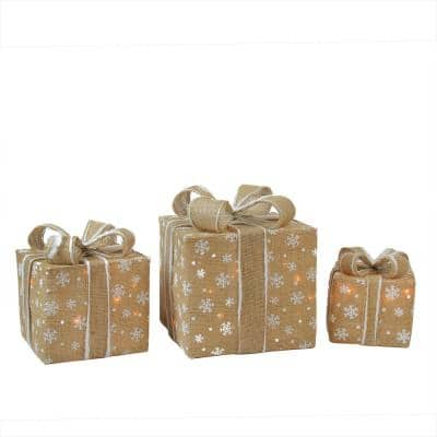 11.75 in. Christmas Outdoor Decorations Lighted Natural Snowflake Burlap Gift Boxes (3-Pack)