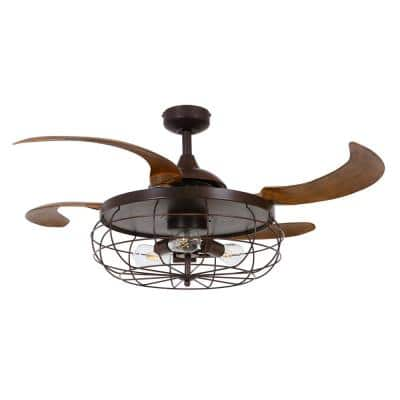 Industri 48 in. LED Oil Rubbed Bronze and Dark Koa Ceiling Fan with Light Kit
