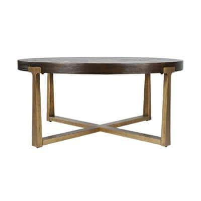 36 in. Gold Medium Round Wood Coffee Table with Metal Frame