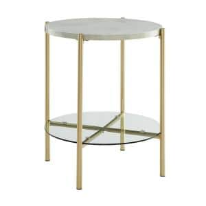 20 in. White Marble and Gold Simone Round Side Table