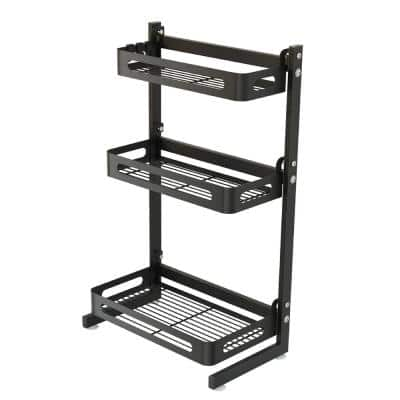 3-Tier Black Stainless Steel Spice Rack Storage Basket with Knifes and Cutlery Holder, Chopping Board and Utensil Holder