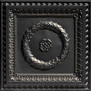 Laurel Wreath Black 2 ft. x 2 ft. PVC Lay-in or Glue-up Faux Tin Ceiling Tiles (100 sq. ft./case)