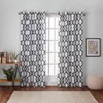 Indigo Trellis Grommet Room Darkening Curtain - 54 in. W x 84 in. L (Set of 2)