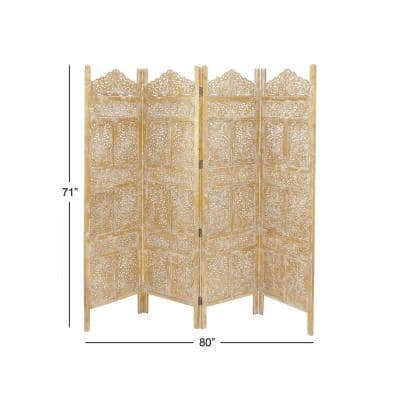 71 in. Traditional Gold Metallic 4-Panel Room Divider